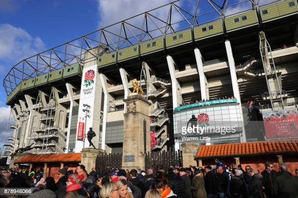 General view outside the stadium as fans arrive prior to the Old Mutual Wealth Series match between England and Samoa at Twickenham Stadium on...