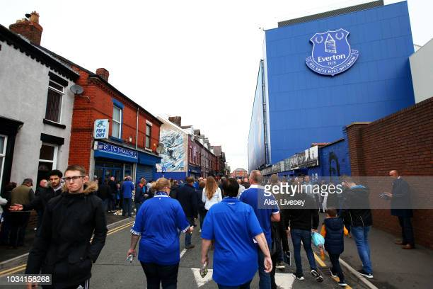 General view outside the stadium as fans arrive prior to the Premier League match between Everton FC and West Ham United at Goodison Park on...