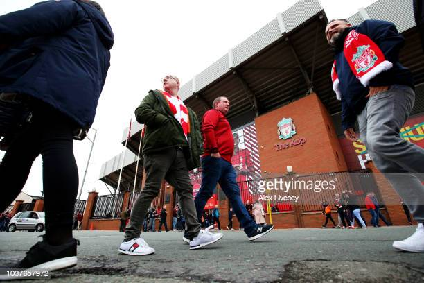 General view outside the stadium as fans arrive prior to the Premier League match between Liverpool FC and Southampton FC at Anfield on September 22...