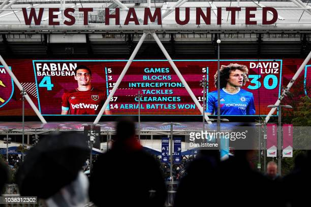 General view outside the stadium as fans arrive prior to the Premier League match between West Ham United and Chelsea FC at London Stadium on...
