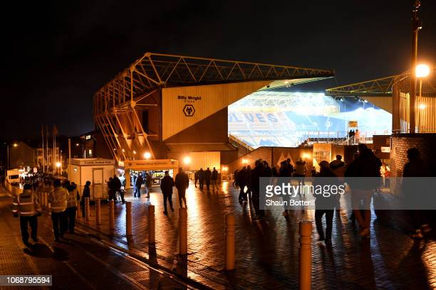 General view outside the stadium as fans arrive prior to the Premier League match between Wolverhampton Wanderers and Chelsea FC at Molineux on...