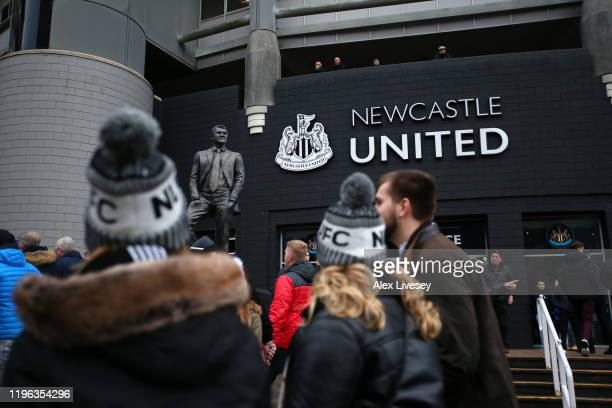 General view outside the stadium as fans arrive prior to the Premier League match between Newcastle United and Everton FC at St James Park on...