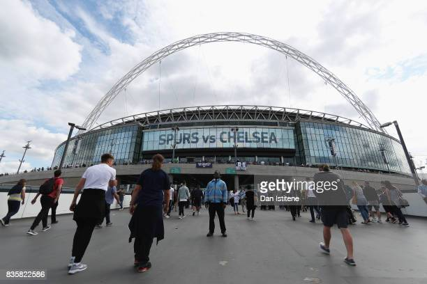 General view outside the stadium as fans arrive prior to the Premier League match between Tottenham Hotspur and Chelsea at Wembley Stadium on August...