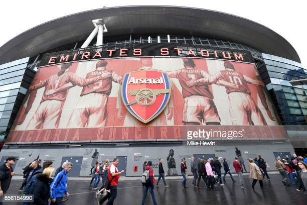 General view outside the stadium as fans arrive prior to the Premier League match between Arsenal and Brighton and Hove Albion at Emirates Stadium on...