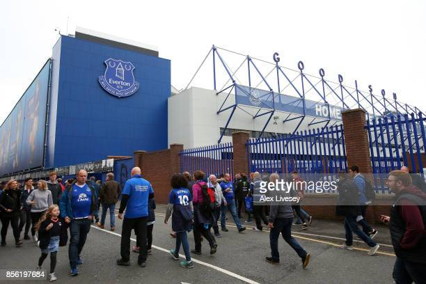 General view outside the stadium as fans arrive prior to the Premier League match between Everton and Burnley at Goodison Park on October 1 2017 in...