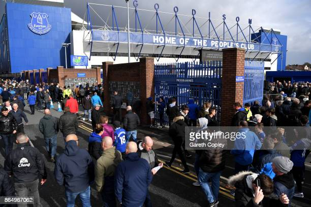 General view outside the stadium as fans arrive prior to the Premier League match between Everton and Arsenal at Goodison Park on October 22 2017 in...