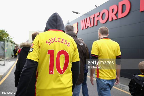 General view outside the stadium as fans arrive prior to the Premier League match between Watford and Stoke City at Vicarage Road on October 28 2017...
