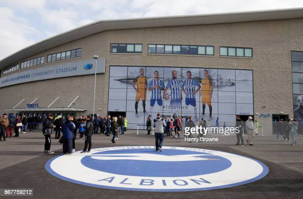 General view outside the stadium as fans arrive prior to the Premier League match between Brighton and Hove Albion and Southampton at Amex Stadium on...