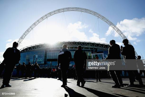General view outside the stadium as fans arrive prior to the Premier League match between Tottenham Hotspur and Crystal Palace at Wembley Stadium on...