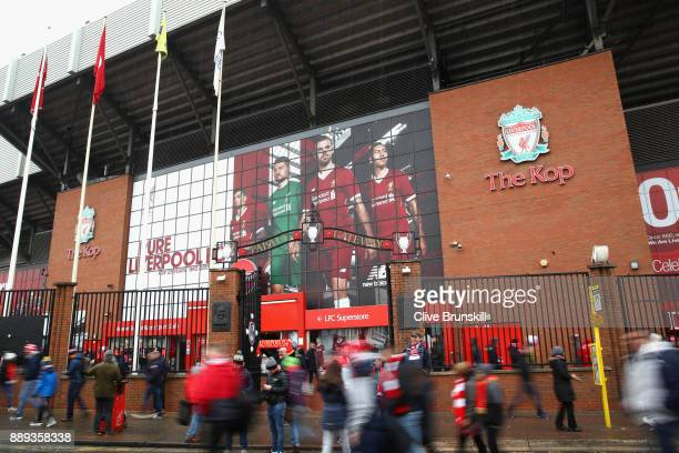 General view outside the stadium as fans arrive prior to the Premier League match between Liverpool and Everton at Anfield on December 10 2017 in...