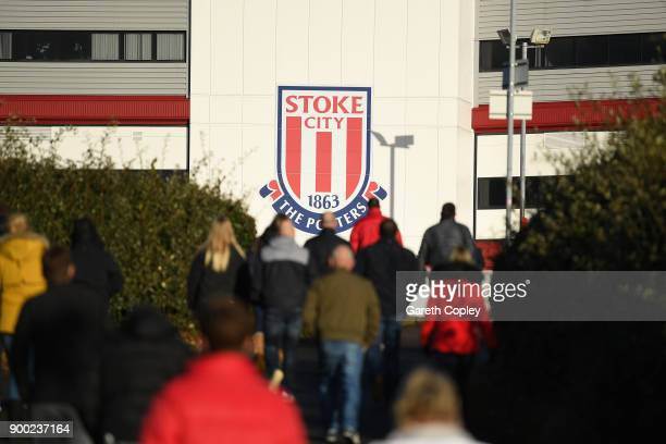 General view outside the stadium as fans arrive prior to the Premier League match between Stoke City and Newcastle United at Bet365 Stadium on...