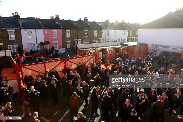 General view outside the stadium as fans arrive prior to the Sky Bet Championship match between Brentford and Middlesbrough at Griffin Park on...