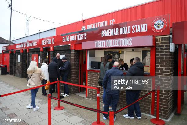 General view outside the stadium as fans enjoy the pre match atmosphere prior to the FA Cup Third Round match between Brentford and Oxford United at...