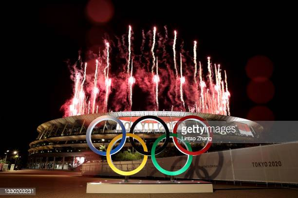 General view outside the stadium as fireworks are let off during the Opening Ceremony of the Tokyo 2020 Olympic Games at Olympic Stadium on July 23,...