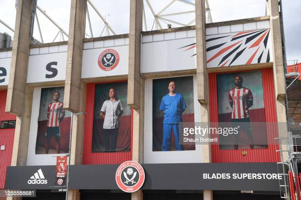 General view outside the stadium, as images of NHS staff are displayed, ahead of the Premier League match between Sheffield United and Chelsea FC at...