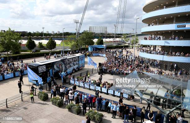 General view outside the stadium as Manchester City players arrive prior to the Premier League match between Manchester City and Tottenham Hotspur at...
