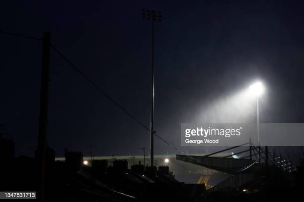 General view outside the stadium as rain falls prior to the Sky Bet League Two match between Mansfield Town and Port Vale at One Call Stadium on...