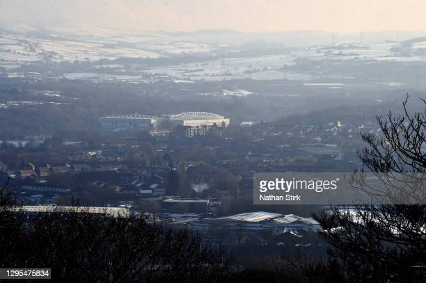 General view outside the stadium as snow is seen on the ground in the surrounding area prior to the FA Cup Third Round match between Blackburn Rovers...