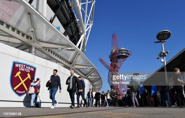 General view outside the stadium as the fans arrive prior to the Premier League match between West Ham United and Tottenham Hotspur at London Stadium...