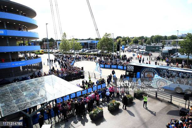 General view outside the stadium as the players coach arrives prior to the Premier League match between Manchester City and Brighton Hove Albion at...