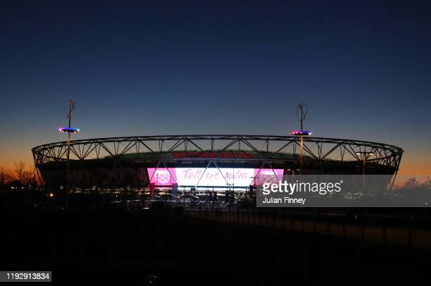 A general view outside the stadium as the sun sets prior to the Premier League match between West Ham United and Arsenal FC at London Stadium on...