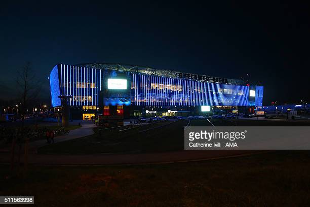 General view outside the stadium at night before the UEFA Champions League match between KAA Gent and VfL Wolfsburg at Ghelamco Arena, on February...