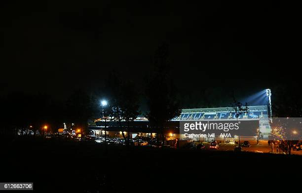 General view outside the stadium at night with the floodlights on after the Checkatrade trophy match between Wycombe Wanderers and West Ham United at...