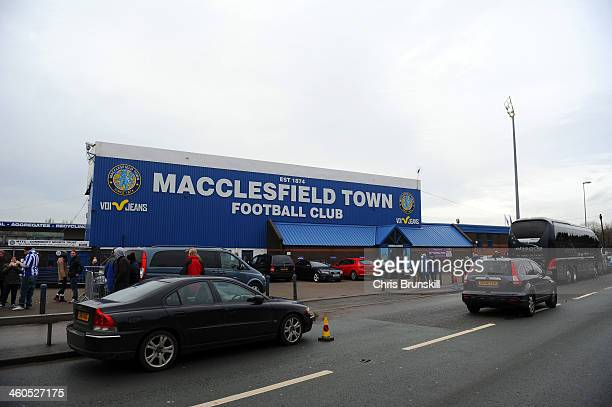 A general view outside the stadium during the Budweiser FA Cup Third Round match between Macclesfield Town and Sheffield Wednesday at Moss Rose...