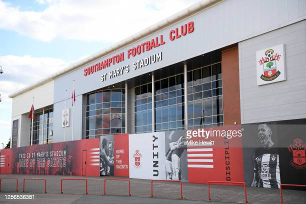 General view outside the stadium during the Premier League match between Southampton FC and Brighton & Hove Albion at St Mary's Stadium on July 16,...
