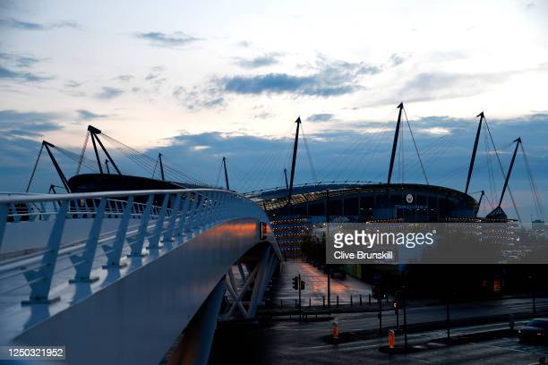 General view outside the stadium during the Premier League match between Manchester City and Arsenal FC at Etihad Stadium on June 17, 2020 in...