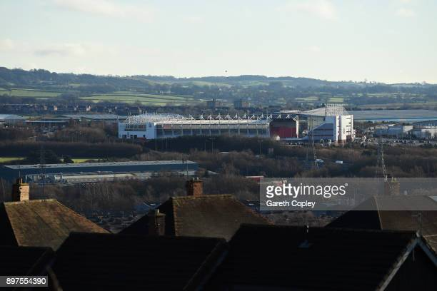 General view outside the stadium during the Premier League match between Stoke City and West Bromwich Albion at Bet365 Stadium on December 23 2017 in...