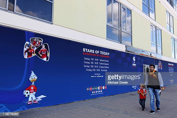 General view outside the stadium during the UEFA European Under21 Championship Group B match between Czech Republic and Spain at the Viborg Stadium...