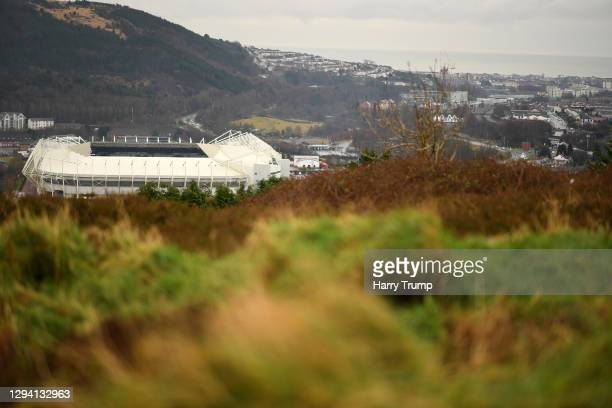 General view outside the stadium from a hill overlooking Swansea prior to the Sky Bet Championship match between Swansea City and Watford at Liberty...