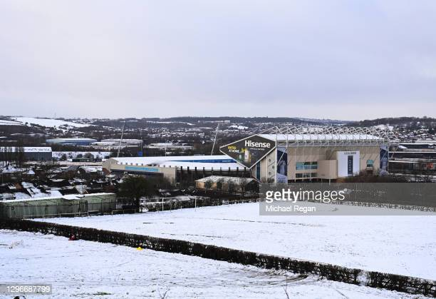 General view outside the stadium in the snow prior to the Premier League match between Leeds United and Brighton & Hove Albion at Elland Road on...