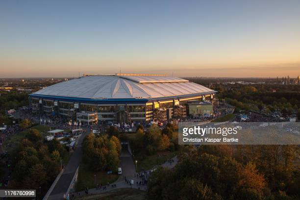 General view outside the stadium is seen prior to the Bundesliga match between FC Schalke 04 and 1. FSV Mainz 05 at Veltins-Arena on September 20,...