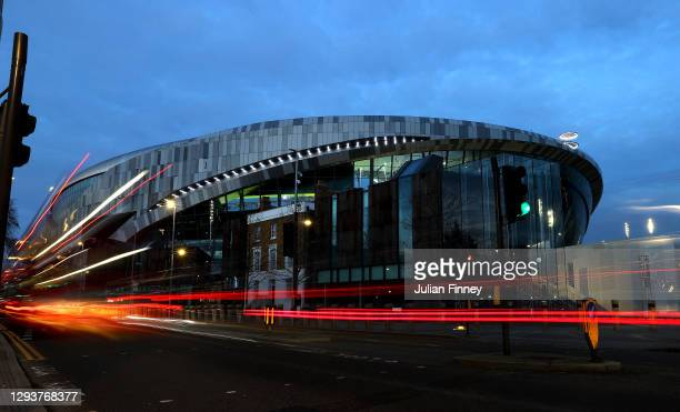 General view outside the stadium is seen prior to the Premier League match between Tottenham Hotspur and Fulham at Tottenham Hotspur Stadium on...