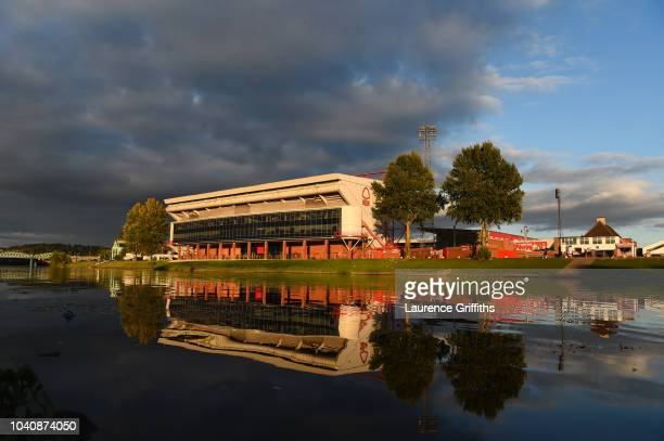 A general view outside the stadium located next to River Trent prior to the Carabao Cup Third Round match between Nottingham Forest and Stoke City at...