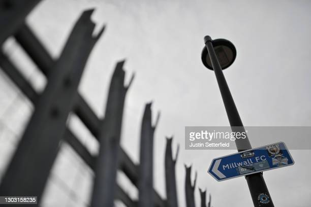 General view outside the stadium of a sign giving directions towards Millwall FC prior to the Sky Bet Championship match between Millwall and Wycombe...
