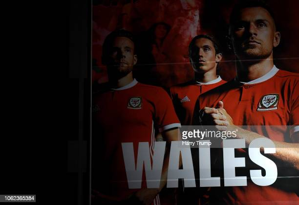 A general view outside the stadium of some Wales branding prior to the UEFA Nations League Group B match between Wales and Denmark at Cardiff City...