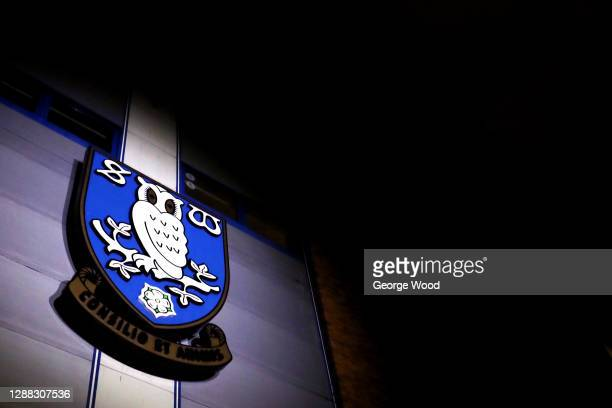 General view outside the stadium of the Sheffield Wednesday club crest following the Sky Bet Championship match between Sheffield Wednesday and Stoke...