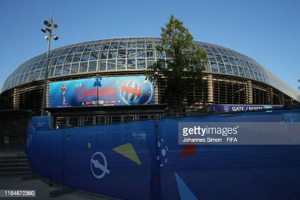 General view outside the stadium one day prior to the 2019 FIFA Women's World Cup France group C match between Brazil and Jamaica at Stade des Alpes...