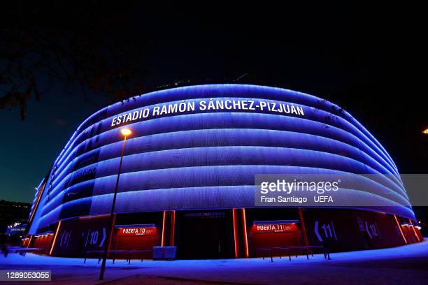 General view outside the stadium prior to during the UEFA Champions League Group E stage match between FC Sevilla and Chelsea FC at Estadio Ramon...