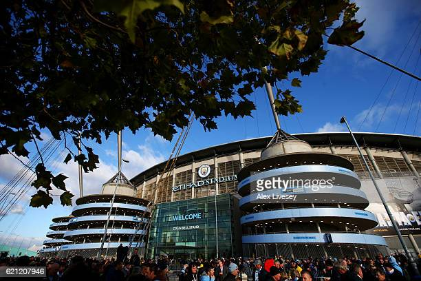 General view outside the stadium prior to kick off during the Premier League match between Manchester City and Middlesbrough at Etihad Stadium on...