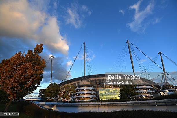 General view outside the stadium prior to kick off during the UEFA Champions League Group C match between Manchester City FC and FC Barcelona at...
