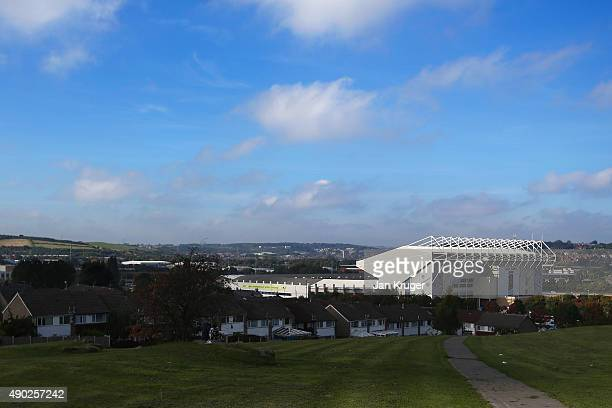 A general view outside the stadium prior to the 2015 Rugby World Cup Pool B match between Scotland and USA at Elland Road on September 27 2015 in...