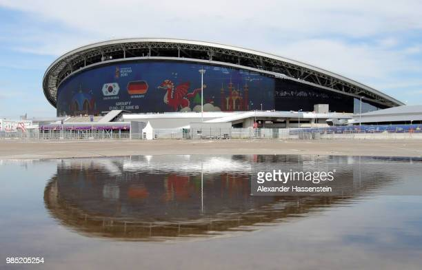 General view outside the stadium prior to the 2018 FIFA World Cup Russia group F match between Korea Republic and Germany at Kazan Arena on June 27...