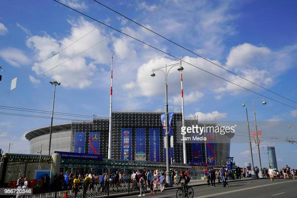 General view outside the stadium prior to the 2018 FIFA World Cup Russia group F match between Mexico and Sweden at Ekaterinburg Arena on June 27...