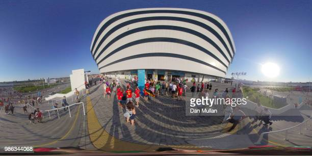 General view outside the stadium prior to the 2018 FIFA World Cup Russia group G match between England and Belgium at Kaliningrad Stadium on June 28...