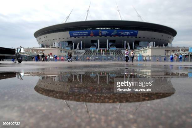 General view outside the stadium prior to the 2018 FIFA World Cup Russia Round of 16 match between Sweden and Switzerland at Saint Petersburg Stadium...