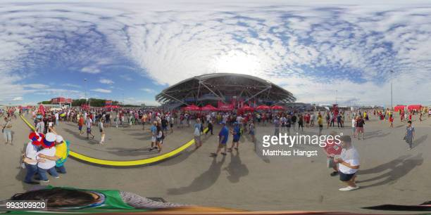 General view outside the stadium prior to the 2018 FIFA World Cup Russia Quarter Final match between Sweden and England at Samara Arena on July 7...